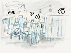 Artist's impression of the 5-module Dream Machine. Andio Lai's sketch, August 2018.